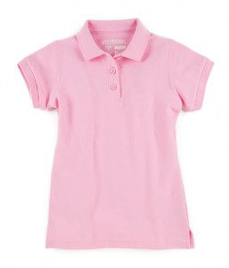 Girls Short Sleeve Pique Polo with Stain Release Fabric These comfortable short sleeve polos are built to last and just perfect for school. They are made with a smaller collar and gently shaped side seams.